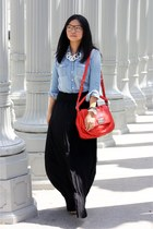 black skirt - sky blue shirt - red bag - white accessories