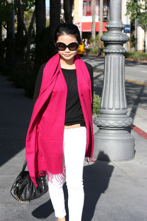 hot pink scarf - white jeans - black sweater