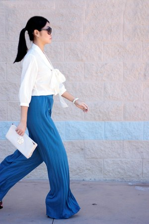 ivory bag - cream blouse - sky blue pants