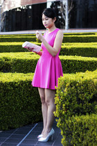hot pink dress - white bag - white heels