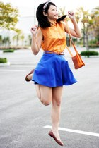 orange shirt - blue skirt - brown flats