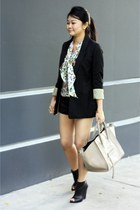 dark khaki bag - black boots - black blazer - chartreuse blouse