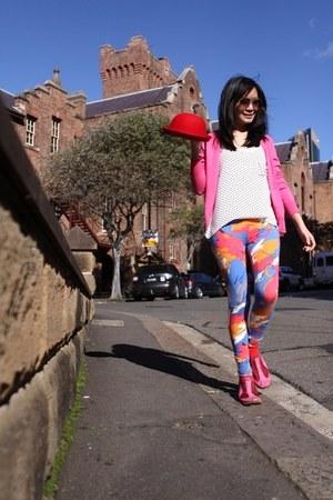 FCUK leggings - Puma sneakers - Zara cardigan - Charles & Keith glasses