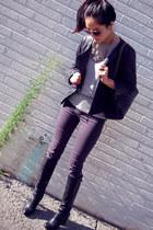 leather jacket - heather gray banana republic sweater - black Chanel purse