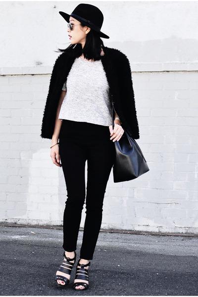 Forever 21 hat - H&M coat - madewell jeans - Mansur Gavriel bag