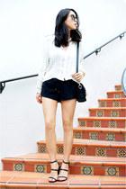 bohemian H&M blouse - pony hair PROENZA SCHOULER bag - suede Zara shorts