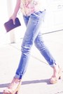 Light-blue-slouch-skinny-item-jeans-brown-tortoise-karen-walker-sunglasses