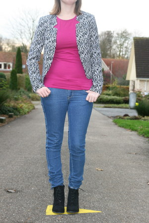 zebra blazer H & M blazer - van haren boots - skinny jeans H & M jeans