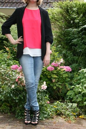 black C & A blazer - hot pink top Mango top - sky blue tregging H & M pants