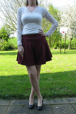 magenta purple skirt H & M skirt - white white lace top H & M top