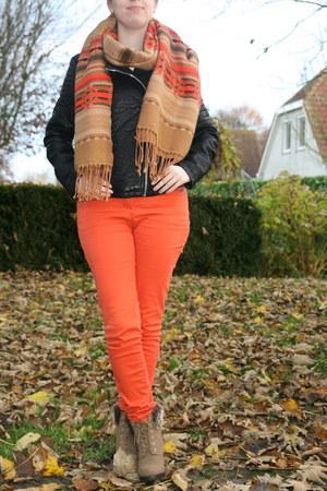 blue top Hema top - ankle boots H & M boots - biker jacket C & A jacket