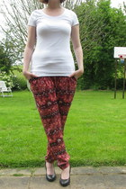 white H & M t-shirt - red pyjama pants C & A pants
