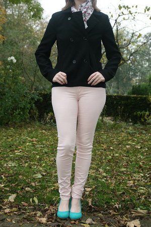 black black jacket H & M jacket - navy polkadot shirt H & M shirt
