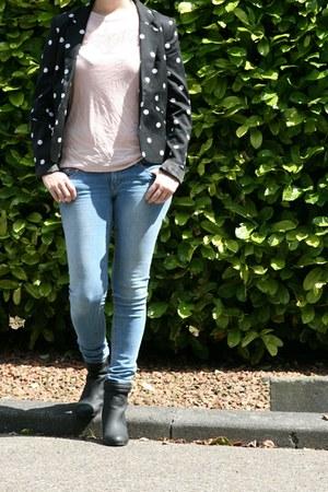 black polkadot blazer H & M blazer - black H & M boots
