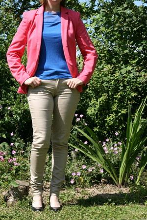 bubble gum pink blazer H & M blazer - blue blue shirt H & M shirt