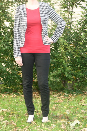 white Vero Moda jacket - red red top C & A top - black pants H & M pants