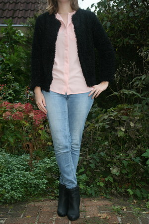 fluffy cardigan H & M cardigan - ankle boots H & M boots - tregging H & M pants