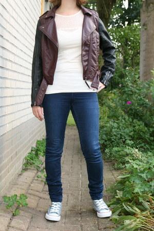 sky blue Converse sneakers - crimson bikerjacket H & M jacket