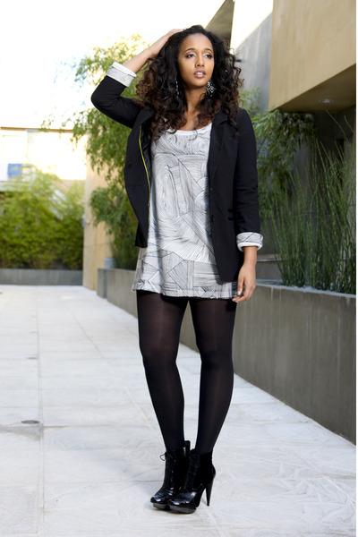 White Dresses Black Blazers Black Tights Heather Gray Earrings
