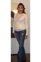 light pink pink and creme vintage blouse - navy blue Lucky Brand Jeans jeans