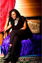 black boots - black pants - black black caped blouse