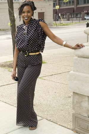 caped polka dot blouse - pants