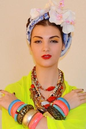 Ebay necklace - Topshop scarf - Ebay bracelet - H&M bracelet - H&M top