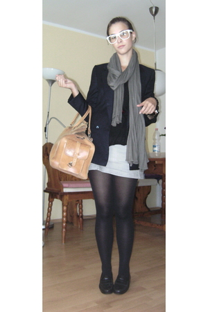 Zara blazer - H&M scarf -  accessories - TODs shoes - H&M skirt -  glasses