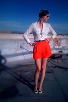 white seychelles shoes - white Forever21 sweater - orange thrifted shorts