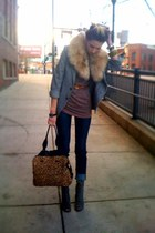 peep-toe Deena & Ozzy boots - high waisted Urban jeans - thrifted YSL blazer - f