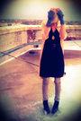Pink-thrifted-cardigan-black-target-dress-black-sam-edelman-boots-black-th