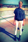 Gray-deena-and-ozzy-boots-white-forever-21-jeans-black-thrifted-belt-gray-