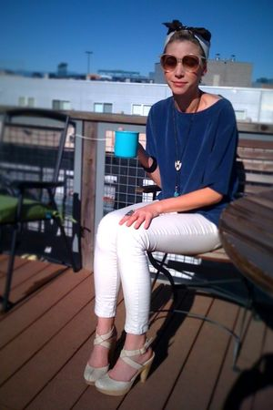 blue thrifted blouse - white Forever 21 jeans - beige seychelles shoes - beige t