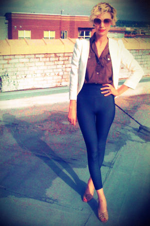 blue American Apparel leggings - brown thrifted shirt - white Urban Outfitters b
