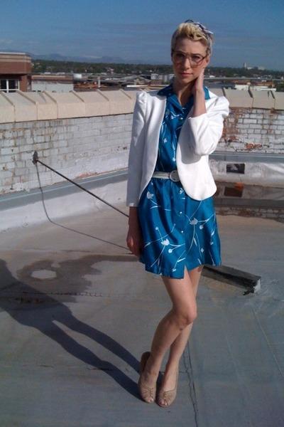 blue thrifted vintage dress - white Urban Outfitters blazer - beige Jeffrey Camp