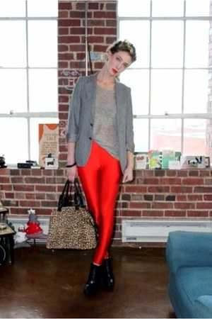 red high waist American Apparel leggings - black zoe sam edelman boots