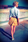 Yellow-forever-21-skirt-blue-thrifted-shirt-gray-thrifted-belt-white-seych