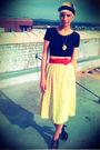 Yellow-thrifted-ll-bean-skirt-red-thrifted-belt-black-thrifted-danskin-intim