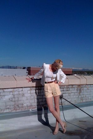 beige button Jeffrey Campbell shoes - white Urban Outfitters blazer