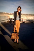 camel leopard Kenneth Cole bag - camel wool thrifted pants - charcoal gray milit