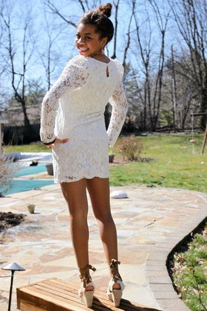 white floral lace Charlotte Russe dress - light brown Old Navy wedges