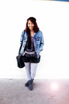 studded boots - denim washed Guess jacket - messanger bag - Forever21 skirt