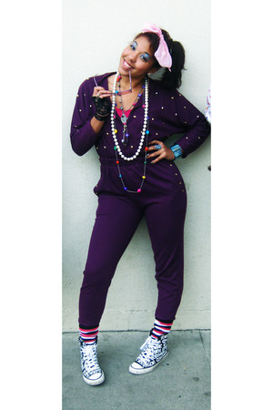 pink scarf - sneakers - studded magenta jumper