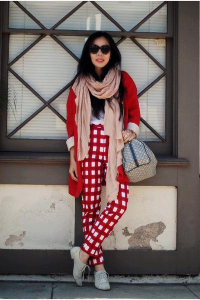 red oversized Zara blazer - off white DV shoes - heather gray Louis Vuitton bag