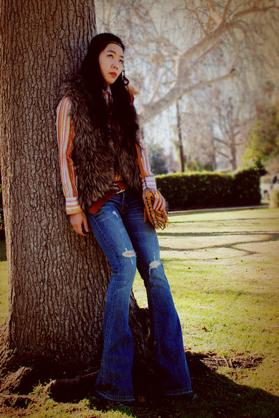 Work Custom Jeans jeans - Boutique Store bag - vintage blouse - faux fur Urban O