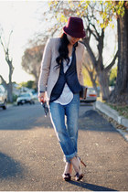 JCrew hat - Levis jeans - Zara blazer - Miu Miu heels - JCrew cardigan