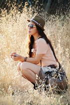 tan Urban Outfitters hat - tan botkier bag - cream H&M shorts - peach JCrew t-sh