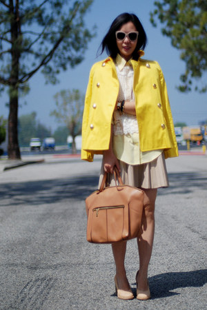 yellow JCrew coat - nude Zara bag - nude Swedishhasbeens pumps