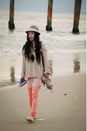light pink free people sweater - bag - neutral sheer American Apparel blouse - b