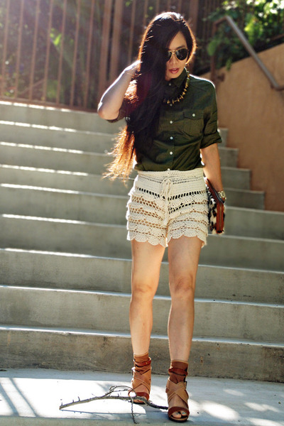 leopard print bag - crochet shorts - Chloe sandals - necklace thrifted accessori